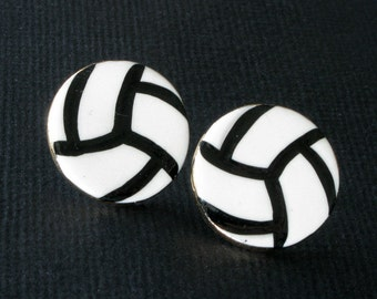 Volleyball Earrings Handmade Porcelain Clay Jewelry Postsd