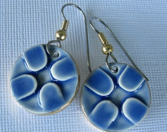 Blue Round Earrings Handmade Porcelain Ceramic Jewelry
