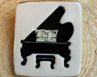 Grand Piano Brooch Handmade Porcelain Ceramic Jewelry