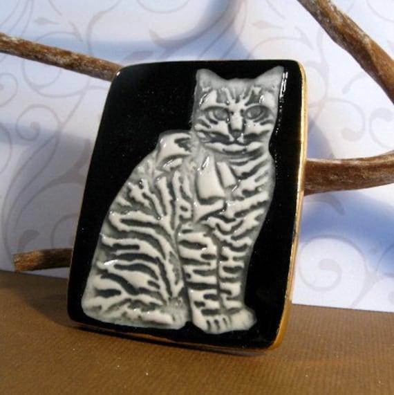 Cat Brooch Handmade Porcelain Jewelry Grey Cat