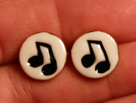 Music Note Earrings Handmade Porcelain Ceramic Jewelry