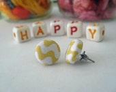 Yellow and White Zig Zag Earrings