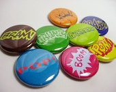 8 Comic Sound Pinback Buttons