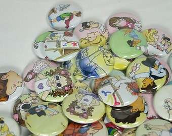 20 Children Illustration Flat back Buttons or Pinback Buttons
