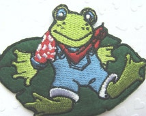 Froggy Prince IRON ON patch 74x55mm (3 x 2.15 inches) - Code PC029