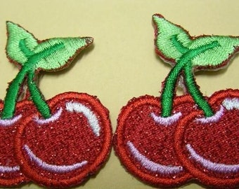 SPARKLING RED Cherry Iron On Patch / Applique 43x38mm (1.5x1.25 inches) - Code PC027