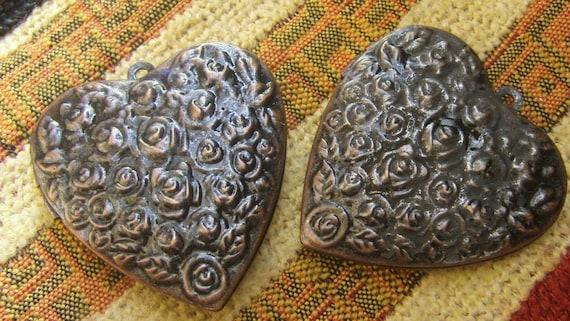 5x BIG HEART Rose Locket (in red copper) 38mm Code 572-B
