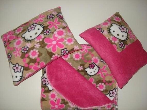 Hello Kitty Pillow And Throw Blanket Set : Hello kitty Floral Fleece Blanket and 2 Pillow Set