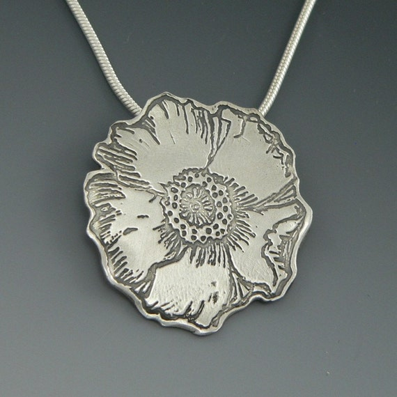 NEW - Coquelicot Nouveau - large poppy pendant in sterling silver - original hand drawn art