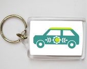 keyring - car green and blue