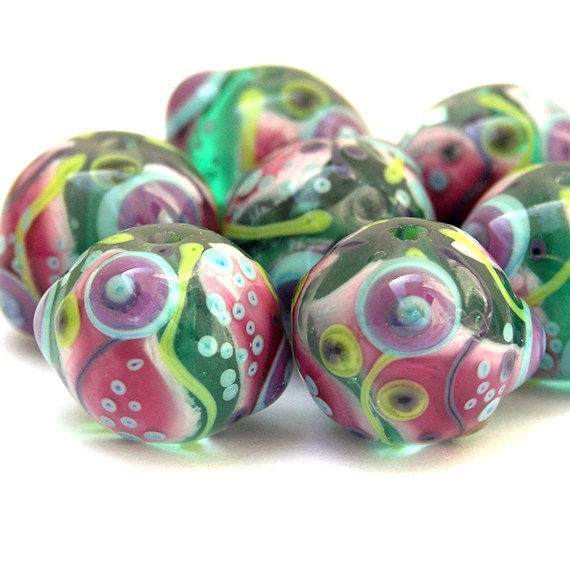 Celebrate  - Colorful, Round Lampwork Bead Set in Aqua, Pink. Lime, Turquoise and Magenta (7)