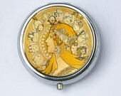 Art Nouveau PILL CASE pillbox pill holder Girl goddess zodiac signs Edwardian Era