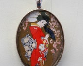 Geisha necklace pendant japanese cherry blossoms rockabilly large 40x30mm glass domed pendant