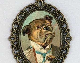 BullDog Smoking dressed as human Kitsch necklace emo punk animal DIY