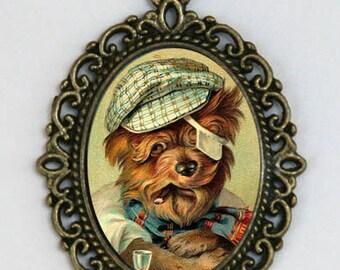 Yorkie necklace Dog Smoking a Cigar dressed as human Kitsch necklace fun cute punk animal DIY