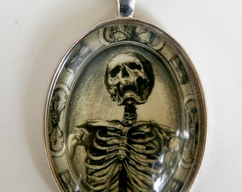 Memento Mori Skeleton necklace psychobilly gothic punk odd death  LARGE 40X30mm Glass domed pendant
