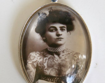 Tattooed Women necklace Hipster victorian circus sideshow freak performer obscure  LARGE 40X30mm Glass domed pendant