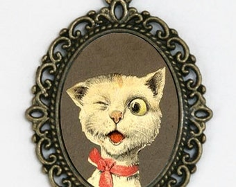 Big Eyed Cat Winking Kitsch necklace emo DIY animal cute