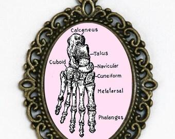 Human Foot BONES necklace anatomy psychobilly gothic punk