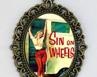 Sin On Wheels NECKLACE pulp retro rockabilly punk pinup trailer park DIY