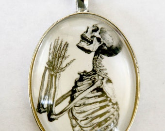 Skeleton Praying anatomy necklace odd gothic punk victorian diy LARGE 40X30mm pendant