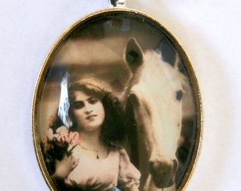 Victorian Girl necklace vintage Pinup Horse black and white sepia DIY NECKLACE LARGE 40X30mm pendant