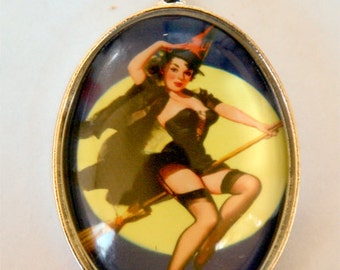 Pinup Witch diy moon rockabilly halloween NECKLACE DIY pulp large 40x30mm pendant