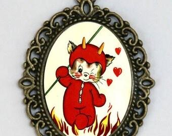 Devil Cat necklace horror halloween goth punk kitsch love hearts