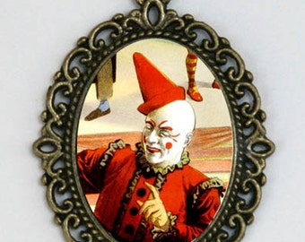 Circus Clown necklace pendant hipster scary performer obscure punk