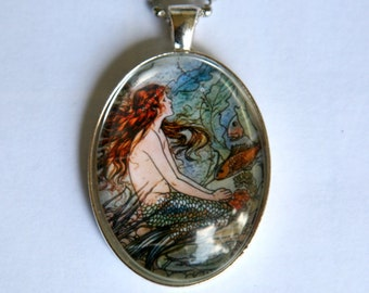 Mermaid necklace Vintage  illustration fish underwater fairytale DIY LARGE 40X30mm glass domed pendant