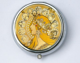 Art Nouveau PILL CASE pillbox pill holder Girl goddess zodiac signs Edwardian Era
