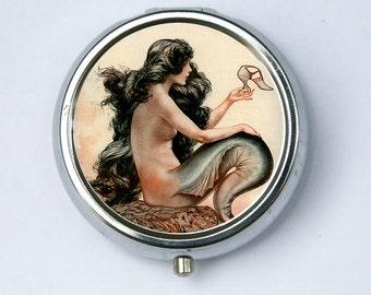 Mermaid pillbox PILL CASE BOX holder Parisian art nouveau art deco victorian diy vitamins meds