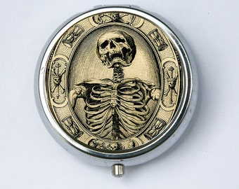 Memento Mori Skeleton Pill Case pillbox holder box psychobilly gothic punk odd death