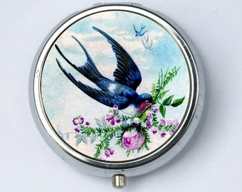 Swallow Carrying Rose PILL case pillbox holder victorian flowers birds nature calm pretty DIY