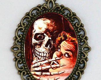 Skeleton necklace  Attacking Lady horror halloween goth punk psychobilly