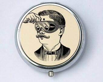 Steampunk mustache PILL CASE pillbox pill box holder victorian goggles vintage odd obscure