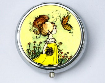 Girl and Butterfly PILL CASE pillbox pill box holder daisy flowers hippy 60s