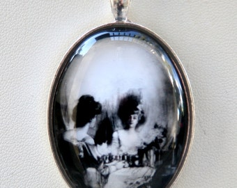 Skull Illusion necklace gothic punk psychobilly vanity diy LARGE 40X30mm glass domed pendant