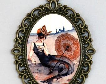 Mermaid necklace flapper beach parisian art nouveau deco victorian DIY