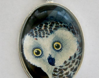 Snow Owl necklace pendant face hipster night owl tree LARGE 40X30mm Glass domed pendant