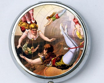 Circus Trapeze Artist PILL CASE pillbox pill holder vintage circus performers