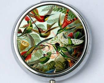 Humming Birds PILL case pillbox pill box holder flowers birds nature calm pretty DIY