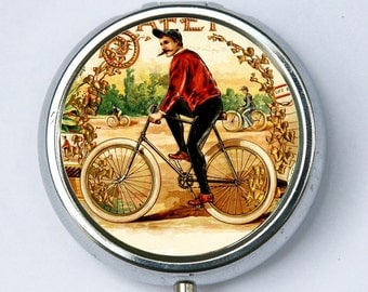 Old Time Bicycle Rider PILL case pillbox pill box holder bike vintage hipster diy