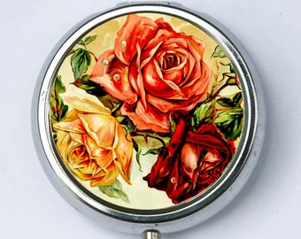 Roses pillbox pill case PILL box holder flowers love pretty DIY botanical
