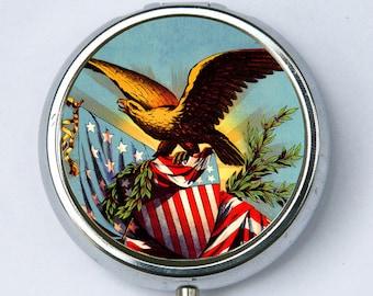 Golden Eagle PILL case pillbox pill box holder American Flag USA vintage illlustration