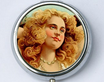 Victorian Women pillbox PILL CASE BOX beauty retro vintage illustration holder victorian diy vitamins meds