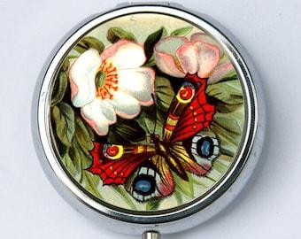 Butterfly Flower PILL case pillbox pill box holder flowers nature calm pretty DIY
