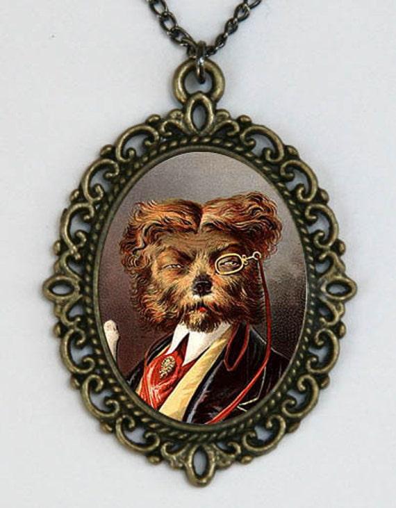 Regal Dog necklace hipster wearing monocle dressed as human Kitsch emo punk animal Anthropomorphic DIY
