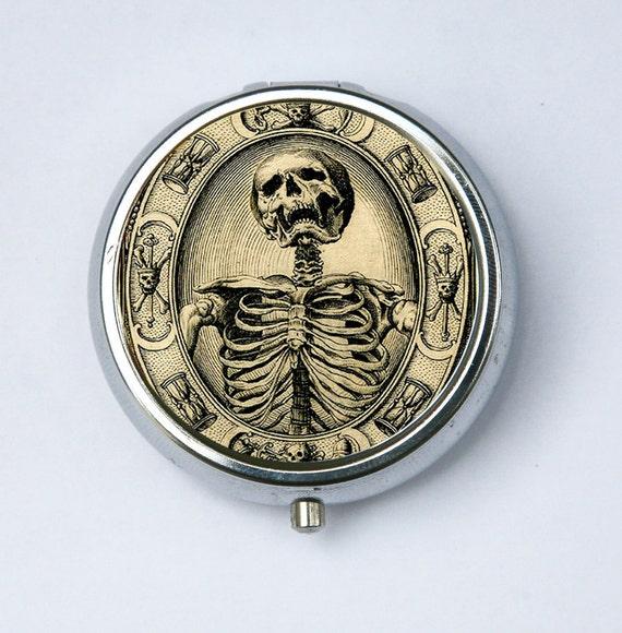 Memento Mori Skeleton Pill Case pillbox holder box psychobilly gothic punk odd death