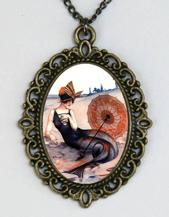 Mermaid necklace flapper beach parisian art nouveau deco victorian DIY